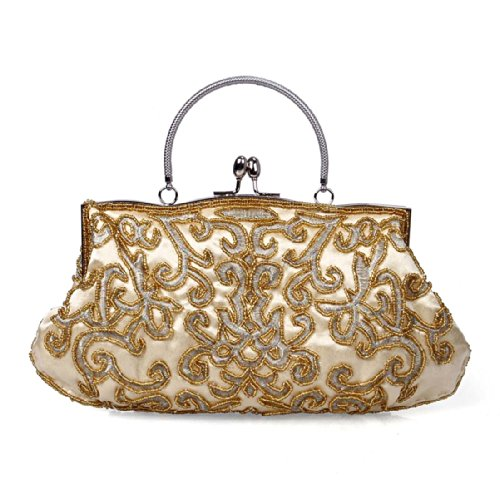 BMC Womens Gold Antique Fashion Elegant Ornate Swirling Bead Pattern Evening Cocktail Clutch Handbag