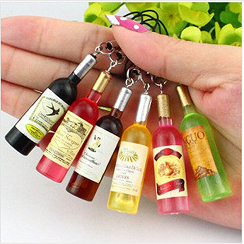 Mobile Wine - Yaoding 20pcs/lot Mini Red Wine Bottle Keyring Keychain for Mobile Phone Bag Pendant Charms