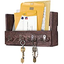 Wooden Wall Mount Mail Holder Organizer – Rustic Key Holder Organizer for Wall – Magazine Holder with 4 Double Key Hooks – Distressed Wall Décor for Entryway