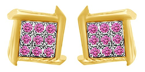 Round Cut Simulated Pink Sapphire Zig-Zag Square Stud Earrings In 14k Solid Yellow Gold by AFFY