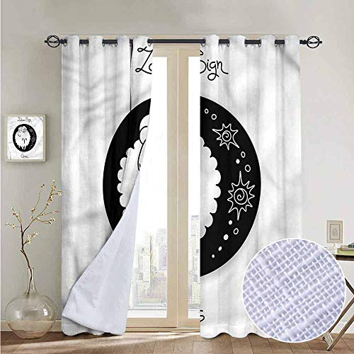NUOMANAN Customized Curtains Zodiac Aries,Funny Ram in a Dot,Blackout Thermal Insulated,Grommet Curtain Panel 1 Pair52 x96