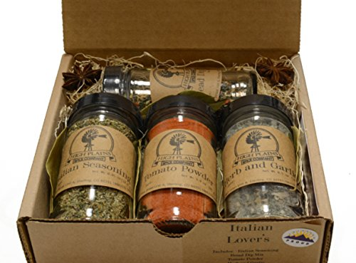 Italian Lovers Gift Set of 4 ~ Gift Set by High Plains Spice Company ~ Gourmet Meat and Veggie Spice Blends & Rubs For Beef, Chicken, Veggies & All Recipes ~ Spice Blends Handcrafted In Colorado, USA (Italian Cooking Gifts)