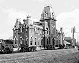 Minneapolis Historic Black & White Photo, Outside the C.M. & St. Paul Railway Depot, c1876, 16x20in