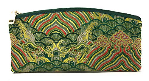 (Value Arts Green Zippered Soft Eyeglass Case Pouch, Vaco Chic Chinese Silk, 7.25 Inches Long )
