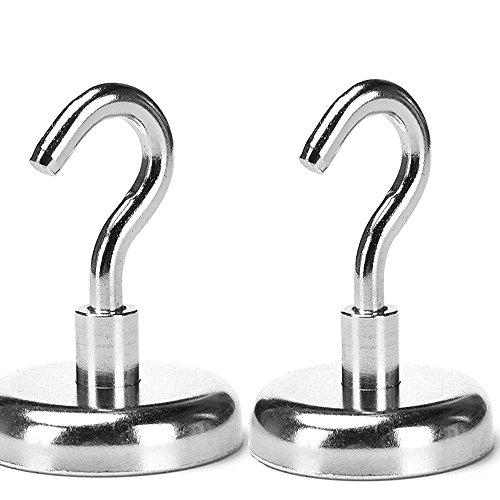 Magnetic Hooks, Strong Heavy Neodymium Hanging Hooks D20 Multi-Purpose Indoor, Outdoor, Kitchen, Bathroom, Bedroom, Garage Lockers, Office, 2 Piece by thE FooD Cop (Image #5)
