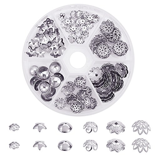 - PandaHall Elite About 180 Pcs 304 Stainless Steel Flower Bead Caps 6 Styles Jewelry Making