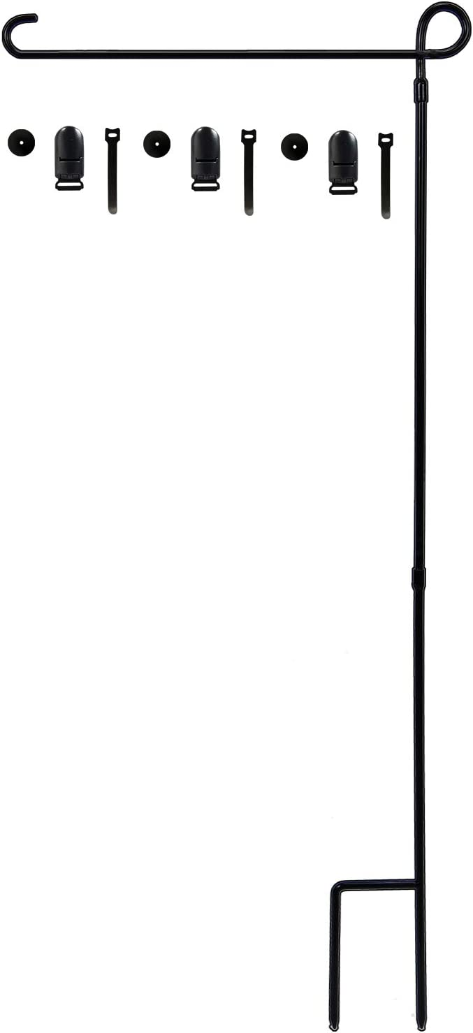 hogardeck Garden Flag Holder Stand, Weather-Proof Metal Flagpole Thickened Pole Sturdy and Straight Premium Yard Flag Holder with 3 Stoppers and 3 Clips Fit for American Flag, Fall Garden Flag