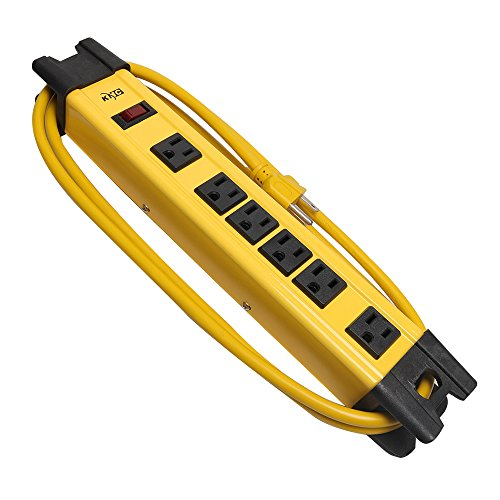 KMC 6 Outlet Heavy Duty Metal Surge Protector Power Strip 6 Feet, 125V/15A, ()