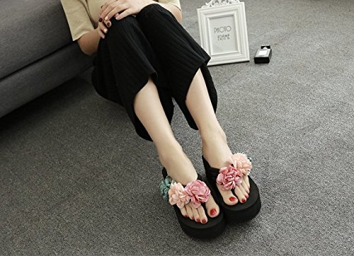 Ajunr Moda/elegante/Transpirable/Sandalias Dulce La coloración Flores Flip Flops Espesor inferior Zapatillas 6cm pendiente del talón Pie Antideslizante Negro ,38 38