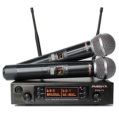System Bodypack Instrument Dual Wireless (Phenyx Pro Dual UHF Wireless Microphone System, Cordless Mics With 250ft Long Range Professional Performance, 80 Channels, Rugged Metal Built With 16 Hours Battery Life (UHF Wireless Microphone))
