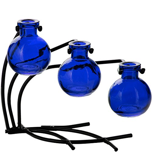 "Couronne Company M504-200-15 Casablanca Three Recycled Glass Vases & Metal Stand, 7 1/2"", Cobalt Blue, 1 Piece"
