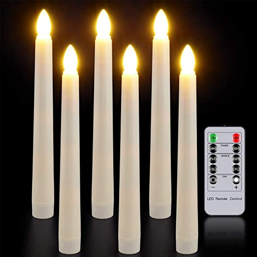 6 LED Candles Battery Operated Wedding Parties Decoration Ivory