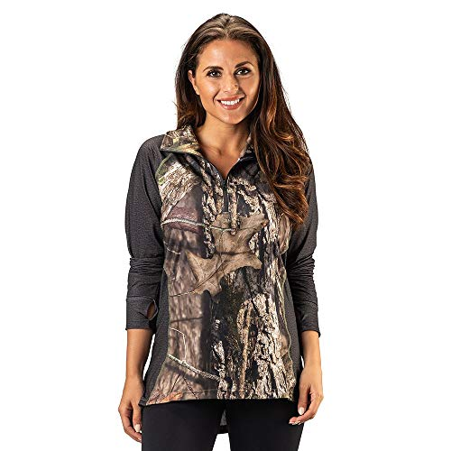 Shirt 1/4 Zip Impulse - TrailCrest Ladies Mossy Oak Impulse 4 Way Stretch 1/4 Zip Performance Top, Breakup Country & Charcoal Heather, XX-Large