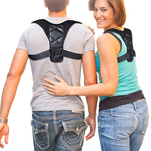Posture Corrector Back Support Brace Clavicle Spine Shoulder Lumbar Brace Belt Posture Correction Prevents Slouching to Improve Clavicle Cervical Thoracic Kyphosis & Neck Pain Relief (28