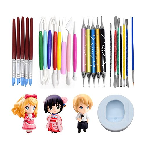AK ART KITCHENWARE Clay Scuplture Tools Kit with Caking Decorating Doll Making Silicone Mold 5 Types Clay Modeling Sculpting Set for Craving and Shaping