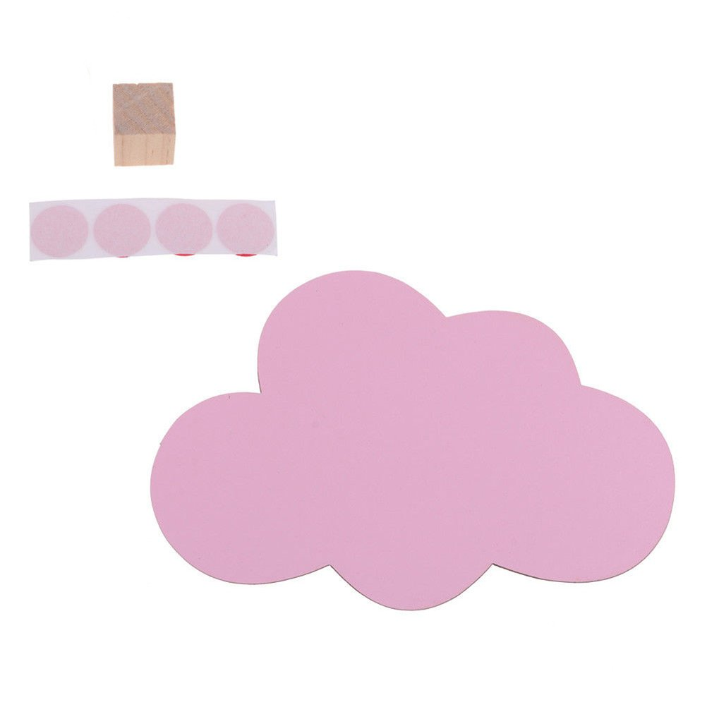 Daycount Wooden Clothes Hook Cute Cloud Wall Decal, Wooden Craft Hook Hanger, Cloud Shape Room Hangers On Wall Decorate for Home, Living Room (Pink)