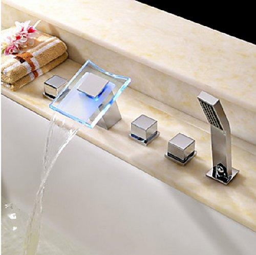 Color Changing Led Waterfall Widespread Bathroom Sink Faucet Chrome Finish Two Handles Bathtub Mixer Taps Bathtub Faucets Lavatory Bath Shower Faucets Plumbing Fixtures Water Flow Powered Temperature Sensor Faucets Chrome Finish S1475