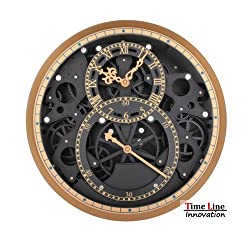 Timeline Moving Gear Wheel Wall Hanging Dual Clock /Classical Golden & Black Large Size