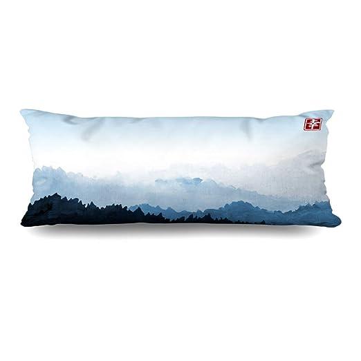 Ahawoso Funda de almohada con cierre 20 x 60 pulgadas azul ...