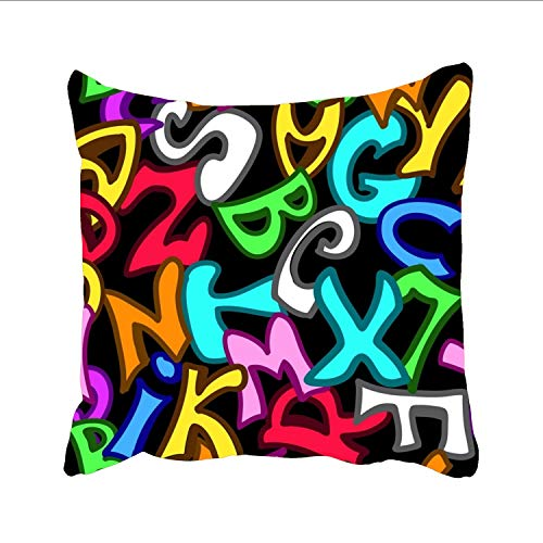 Graffiti Style Letters Pattern Cushion Cover Cotton Linen Pillowslip Square Decorative Throw Pillow Case 18 X 18'' ()
