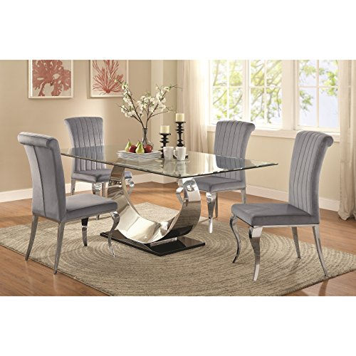Coaster Home Furnishings Manessier 5-Piece Dining Set with Horn-Shape Table Base Chrome Plated and Grey