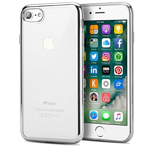 iPhone 7 Hülle, EnGive Schutzrahmen Bumper Kratzfeste Plating TPU Case für iPhone 7 Crystal Cover Schutzhülle Silber