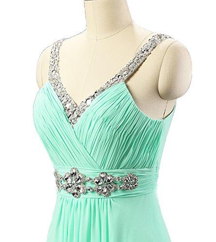 Kmformals Damen VAusschnitt Spalte lange Chiffon Prom Kleid ...