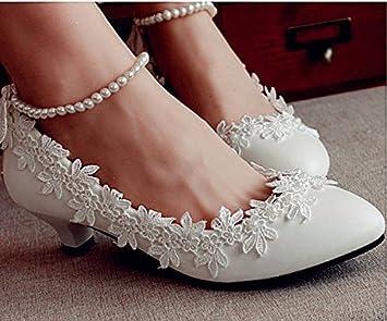 89f0db5ca555 JINGXINSTORE White Lace Crystal Wedding Shoes Bridal Flats Low Heel High  Heels Pump Size 6-