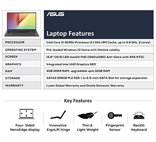 ASUS VivoBook 15 X512FA Intel Core i3 8th Gen 15.6-inch FHD Thin and Light Laptop (4GB RAM/256GB SSD/Windows 10/Integrated Graphics/Slate Gray/1.70 kg), X512FA-EJ550T