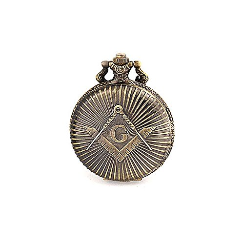 Bling Jewelry Antique Style Large Freemason Symbol Simulated Quartz Mens Pocket Watch Silver Plated from Bling Jewelry