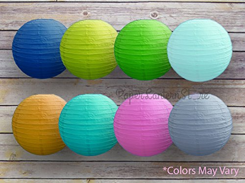 12'' Assorted Colors Round Paper Lanterns, Even Ribbing (8-PACK)