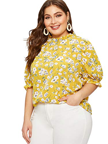 (Romwe Women's Plus Floral Print Ruffle Puff Short Sleeve Casual Blouse Tops Yellow 3XL)