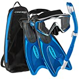 Cressi Palau Traveling Premium Snorkel Set, Panoramic Wide View Adult Diving Snorkeling Mask, Desert Dry Snorkel, Adjustable Fins, Travel Gear Bag - Metallic Blue - X-Small/Small