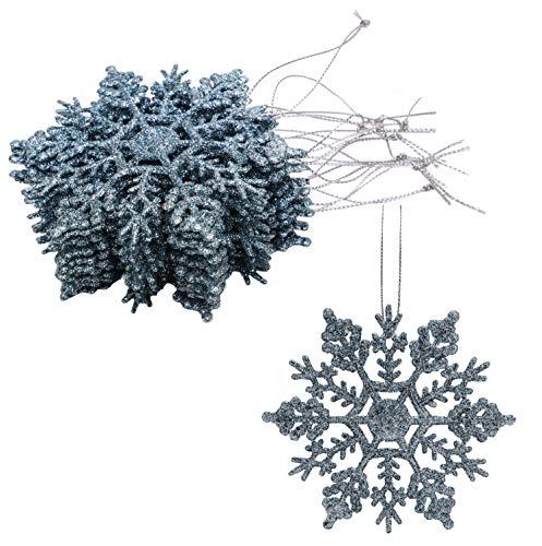 Christmas Concepts Paquete de Decoraciones Colgantes de Copos de Nieve con Brillo de 12-10 cm – Decoraciones navideñas (Azul Hielo)