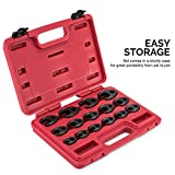 "Neiko 03324A 3/8"" and 1/2-Inch Drive Crowfoot Flare Nut Wrench Set, Metric, 8mm to 24mm 