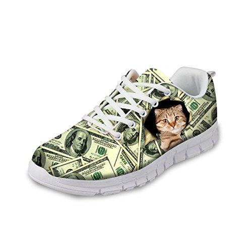 Bigcardesigns Geld Ontwerp Mooie Kat Dames Sportschoenen Lace Up Sneakers Cat1