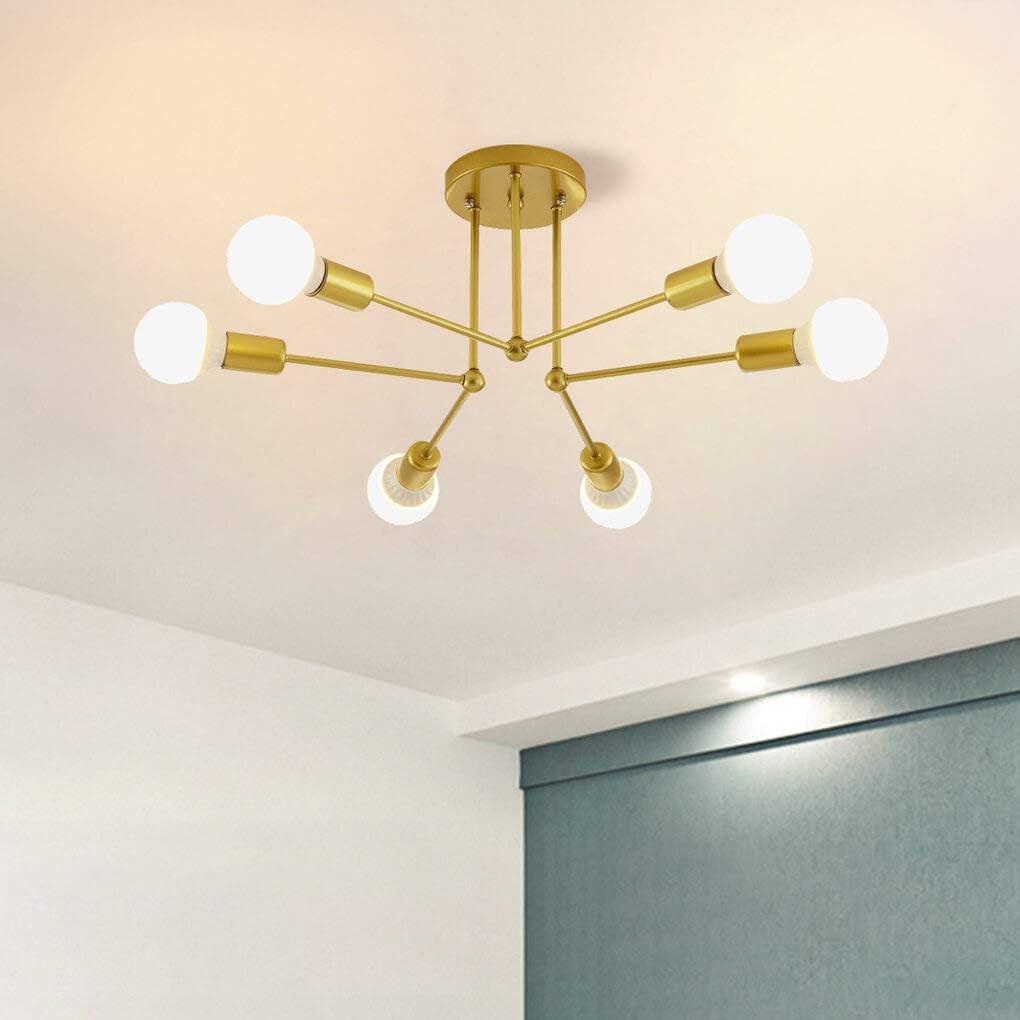 Jaycomey Semi Ceiling Lights Fixture 6 Light E26 Base Gold Sputnik Chandelier Modern Flush Mount Ceiling Lamp For Bedroom Living Room Kitchen Amazon Ca Home Kitchen
