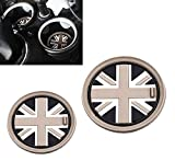 black union jack - VCiiC (2) 73mm Black Union Jack UK Flag Style Soft Silicone Cup Holder Coasters For MINI Cooper R55 R56 R57 R58 R59 Front Cup Holders