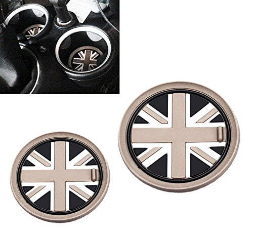 VCiiC (2 73mm Black Union Jack UK Flag Style Soft Silicone Cup Holder Coasters for Mini Cooper R55 R56 R57 R58 R59 Front Cup Holders ()