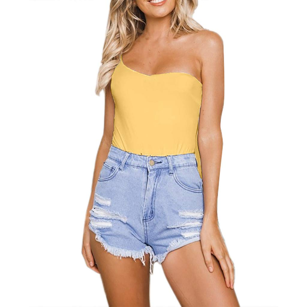 Sexy Rompers for Women,Sunyastor Off One Shoulder Bodysuit Solid Sleeveless Shirt Tops Siamese Pants Backless Jumpsuit Yellow