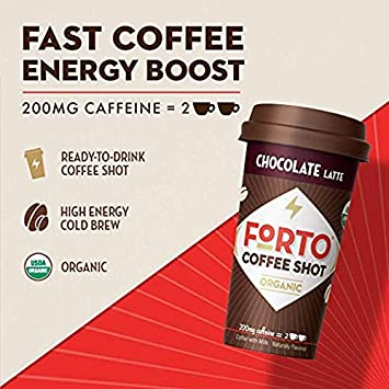 FORTO Coffee Shots – 200mg Caffeine, Chocolate Latte, High Caffeine Cold Brew Coffee, Bottled Fast Coffee Energy Boost, 12 pack