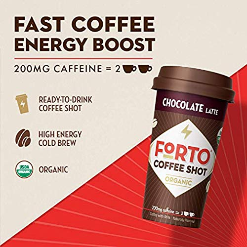 FORTO Coffee Shots - 200mg Caffeine, Chocolate Latte, Ready-to-Drink on the go, Cold Brew Coffee Shot - Fast Coffee Energy Boost, 12 Pack