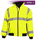 Brite Safety Style 5020 Hi Vis 3-Season Bomber Jacket Men or Women | Durable, Wind & Water Resistant | ANSI Class 3 compliant (3XL)