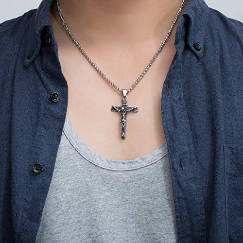 Fashion Crystal Diamond Teardrop Pendant Necklace Jesus Cross Pendant RD