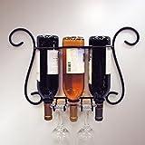 Cheap J&J Wire 3-Bottle Wall Wine/Glass Holder