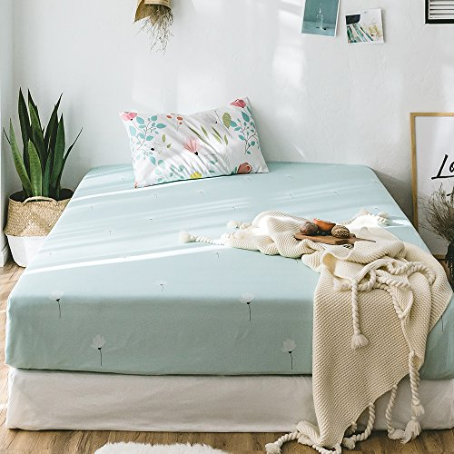 Fitted Sheet Brushed Microfiber Premium Cotton Green Bedding Sheet for Girl Woman, Deep Pocket to Protect Mattress, Fade, Wrinkle, Stain Resistant, Hypoallergenic (Style 10, Queen) ()