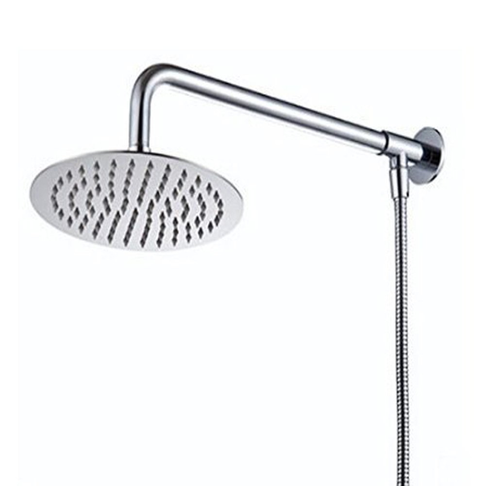 Hiendure® 30cm Square Wall Mount Rainfall Shower Head With Shower Arm Shower Hose Stainless Steel Chrome Finished Home Built