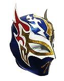 SIN CARA Lycra PRO Adult Lucha Libre Wrestling Mask (pro-LYCRA) GOLD/Blue