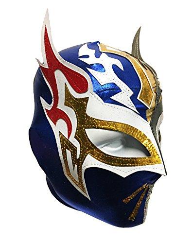 SIN CARA Lycra PRO Adult Lucha Libre Wrestling Mask (pro-LYCRA) GOLD/Blue by Mask Maniac