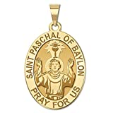 Saint Paschal of Baylon Medal OVAL - 2/3 X 3/4 Inch Size of Nickel, Solid 14K Yellow Gold